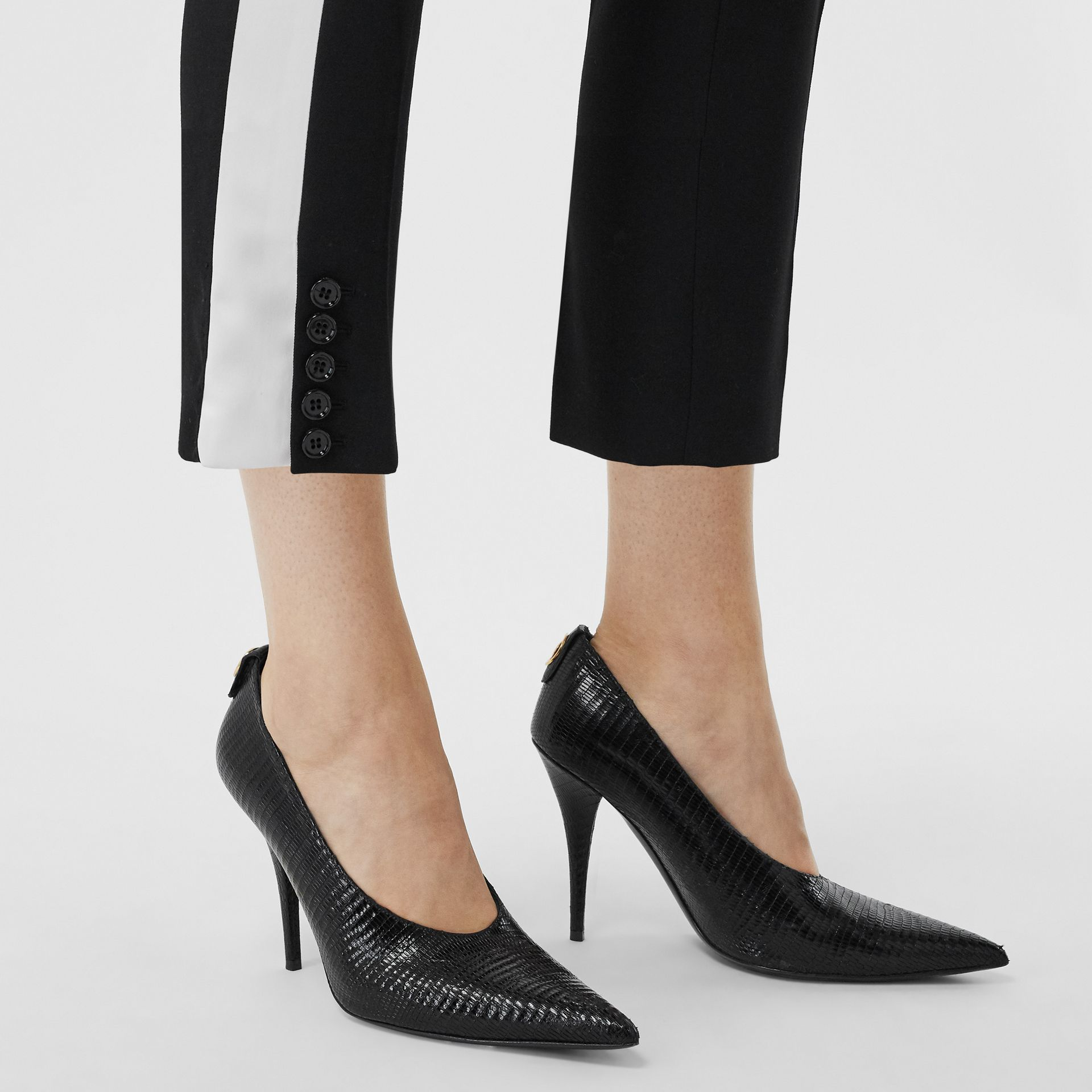 Side Stripe Wool Tailored Trousers in Black - Women | Burberry Singapore - gallery image 1