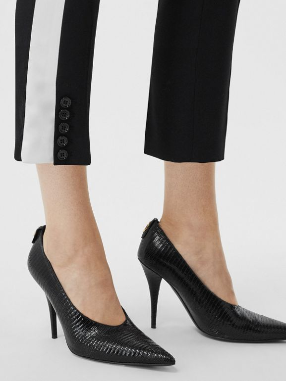 Side Stripe Wool Tailored Trousers in Black - Women | Burberry Singapore - cell image 1