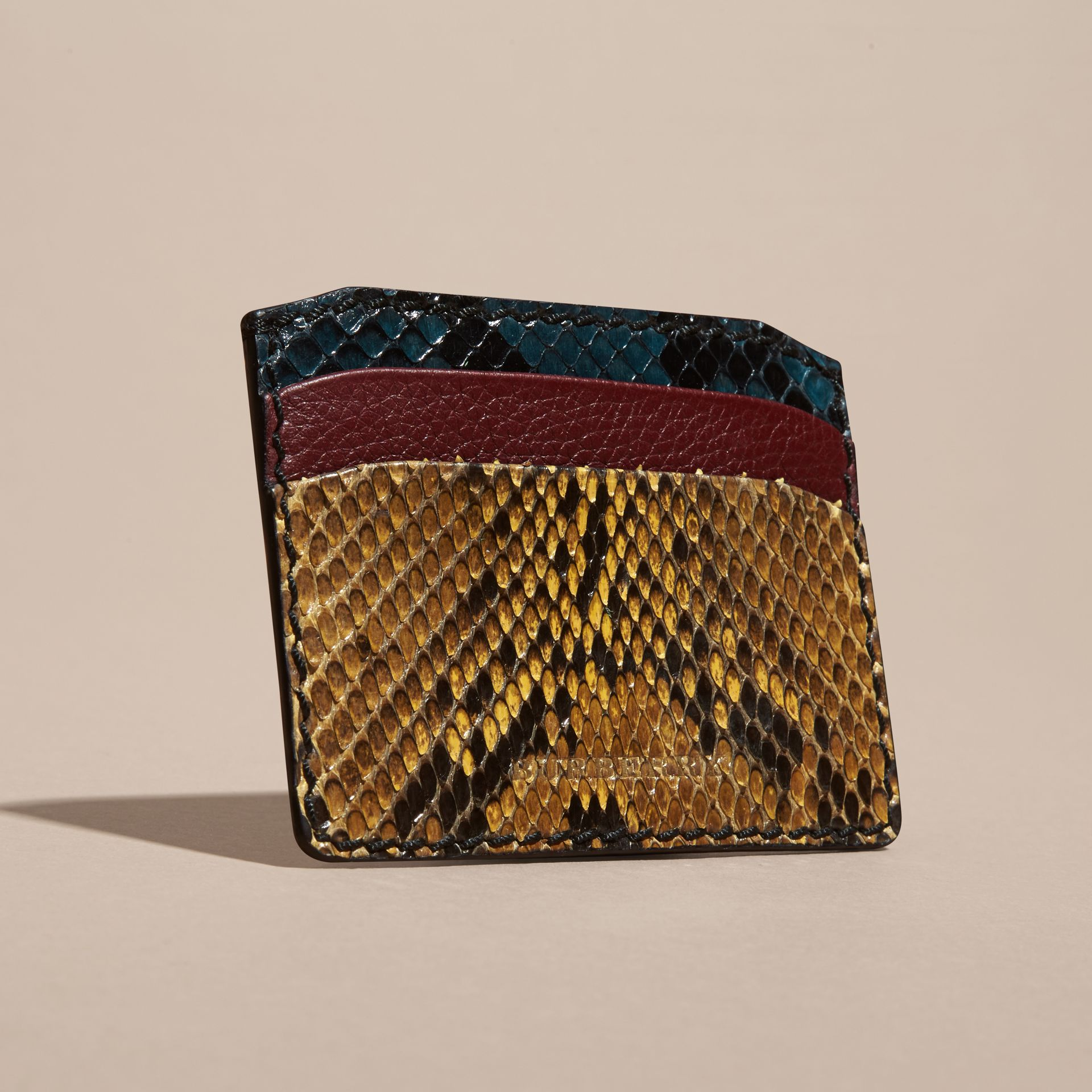 Elderberry Colour Block Snakeskin and Leather Card Case Elderberry - gallery image 3