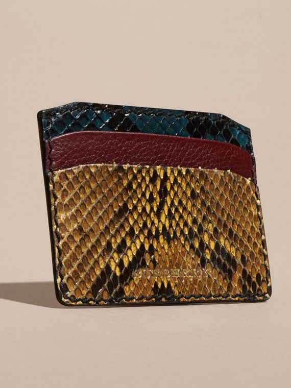 Colour Block Snakeskin and Leather Card Case Elderberry - cell image 2
