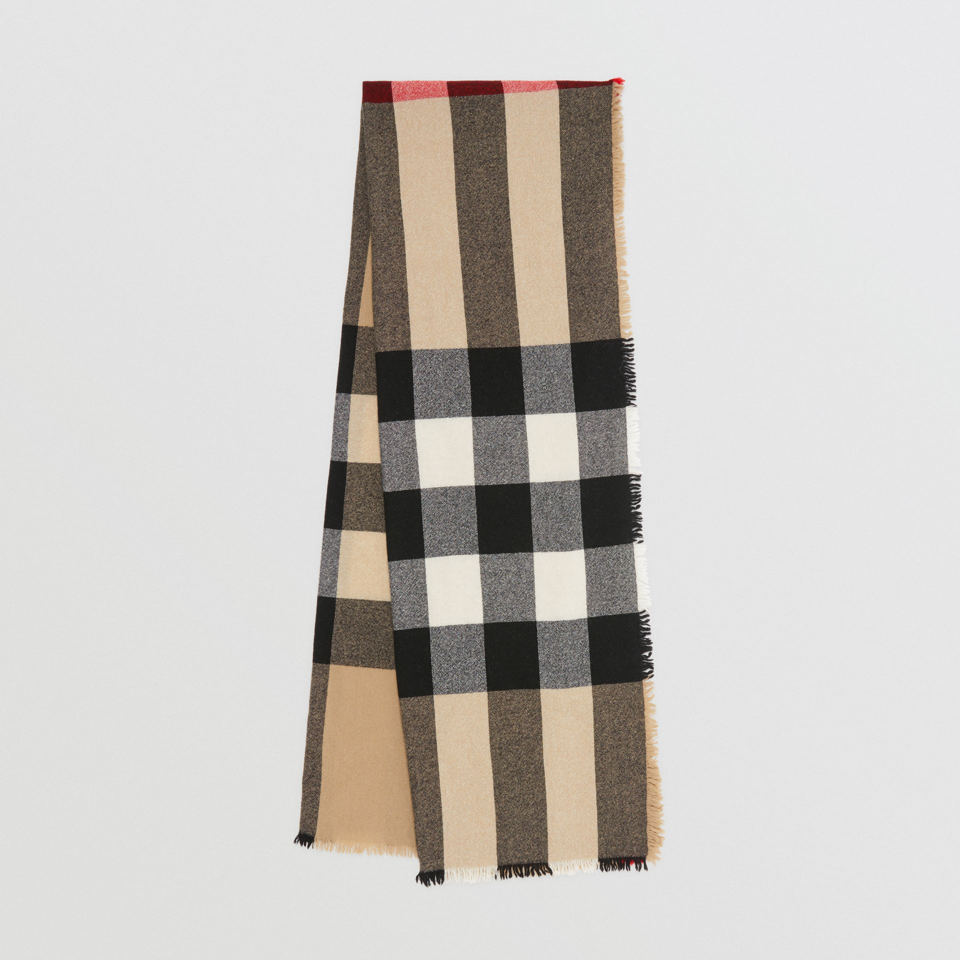 Fringed Check Wool Cashmere Scarf in Camel | Burberry - gallery image 0