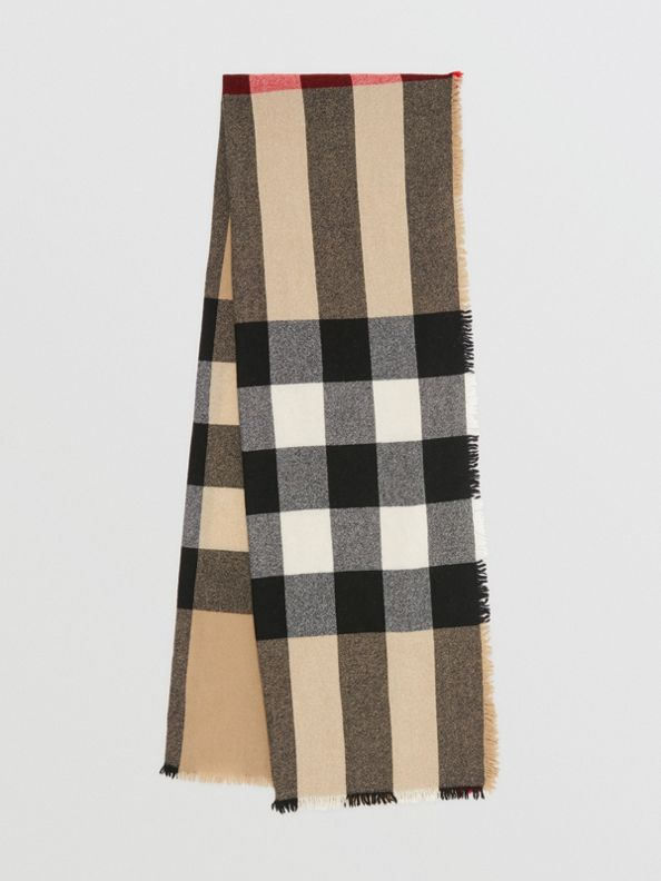 Fringed Check Wool Cashmere Scarf in Camel
