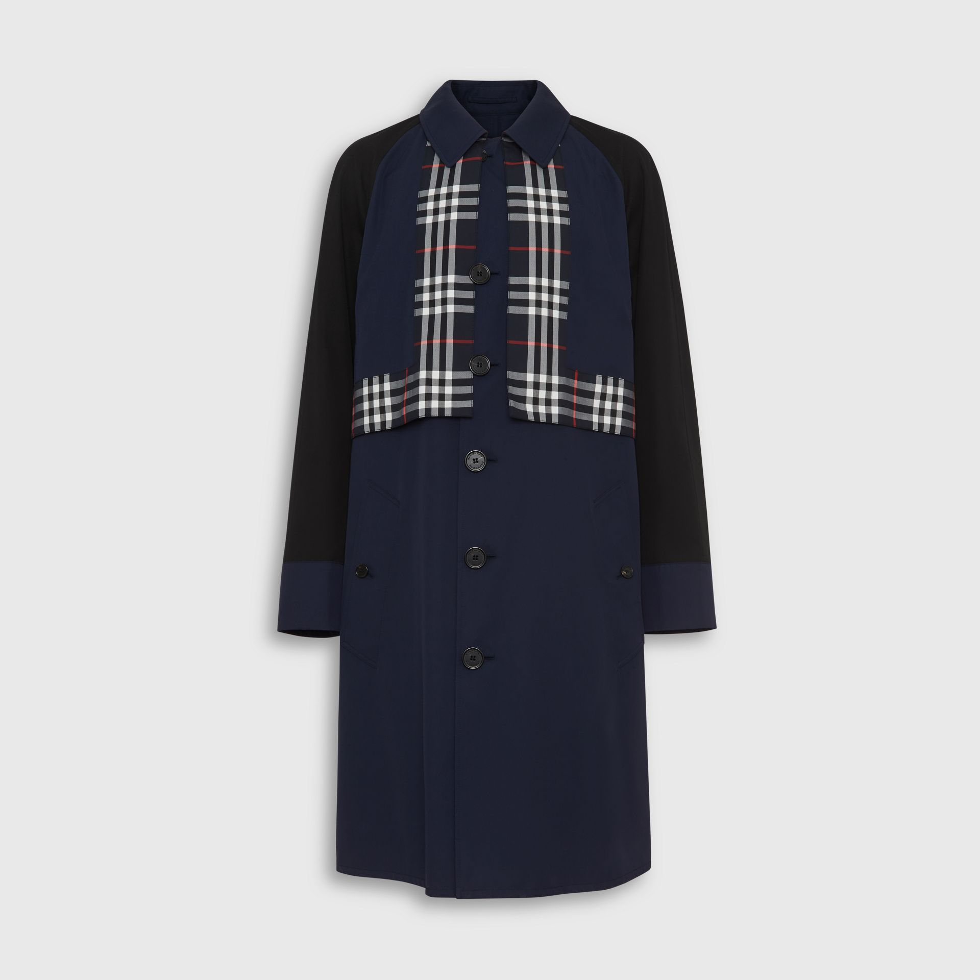 Check Detail Tropical Gabardine Car Coat in Midnight Blue - Men | Burberry United States - gallery image 3