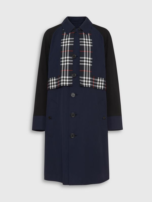 Check Detail Tropical Gabardine Car Coat in Midnight Blue - Men | Burberry - cell image 3