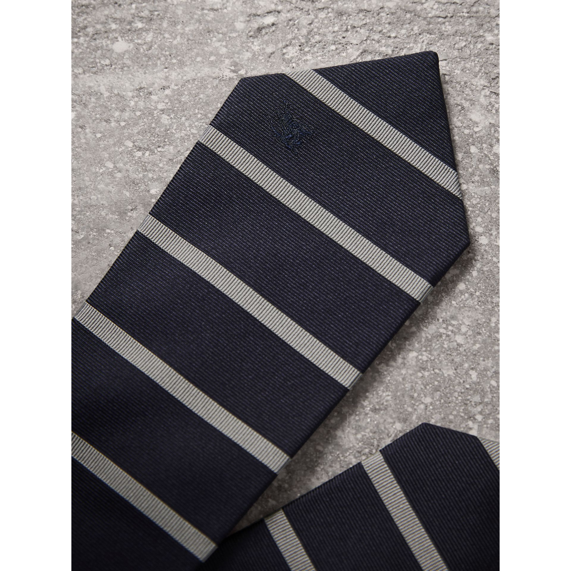 Modern Cut Striped Silk Tie in Navy - Men | Burberry Singapore - gallery image 2