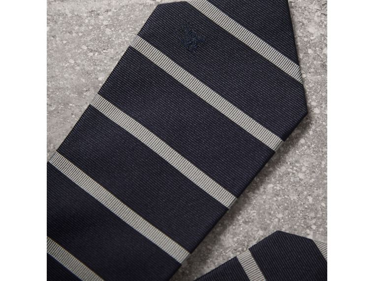 Modern Cut Striped Silk Tie in Navy - Men | Burberry Singapore - cell image 1