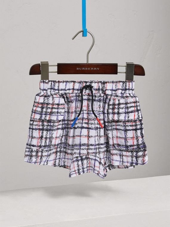 Scribble Check Silk Drawstring Shorts in Black/white