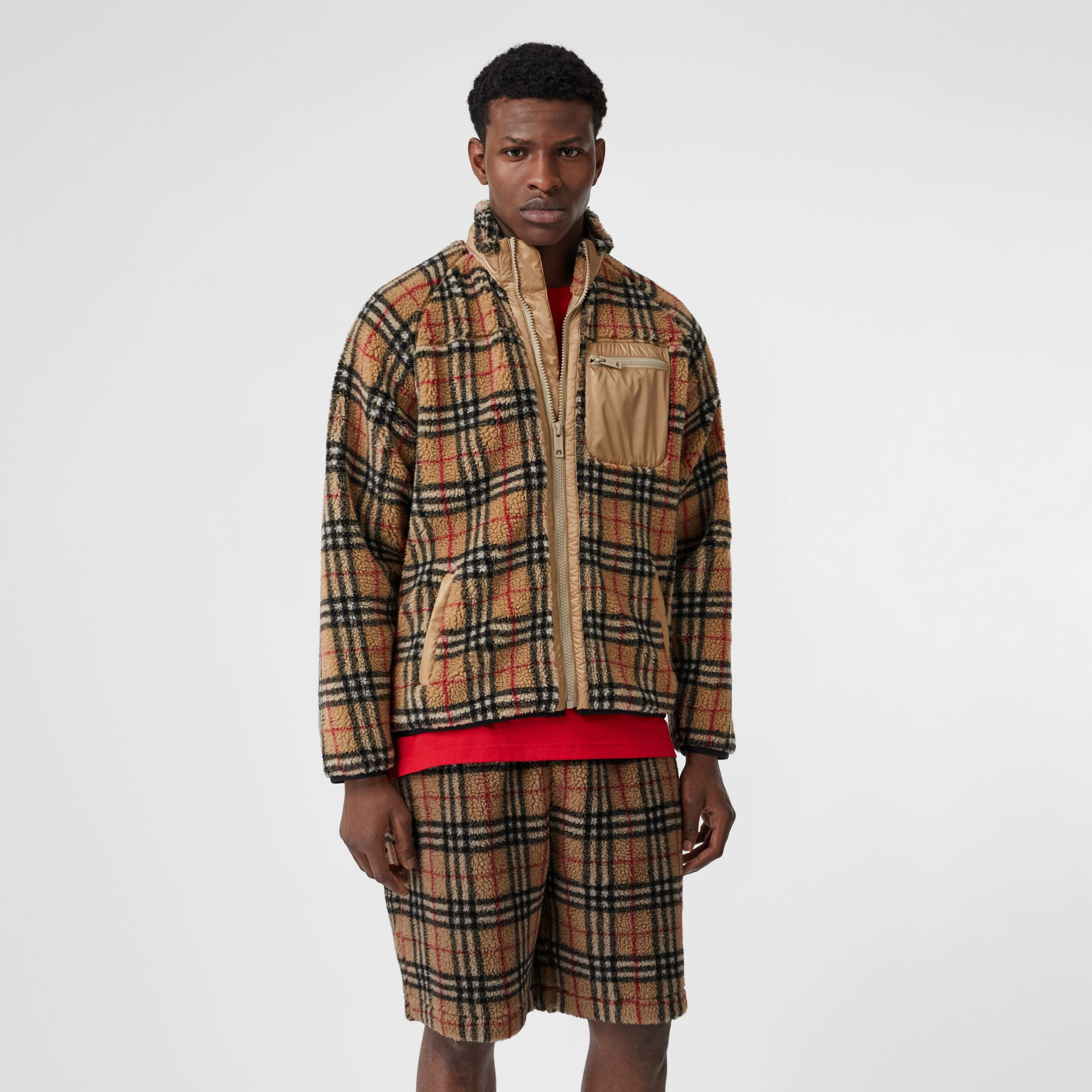 Vintage Check Faux Shearling Jacket in Archive Beige - Men | Burberry United Kingdom - gallery image 3