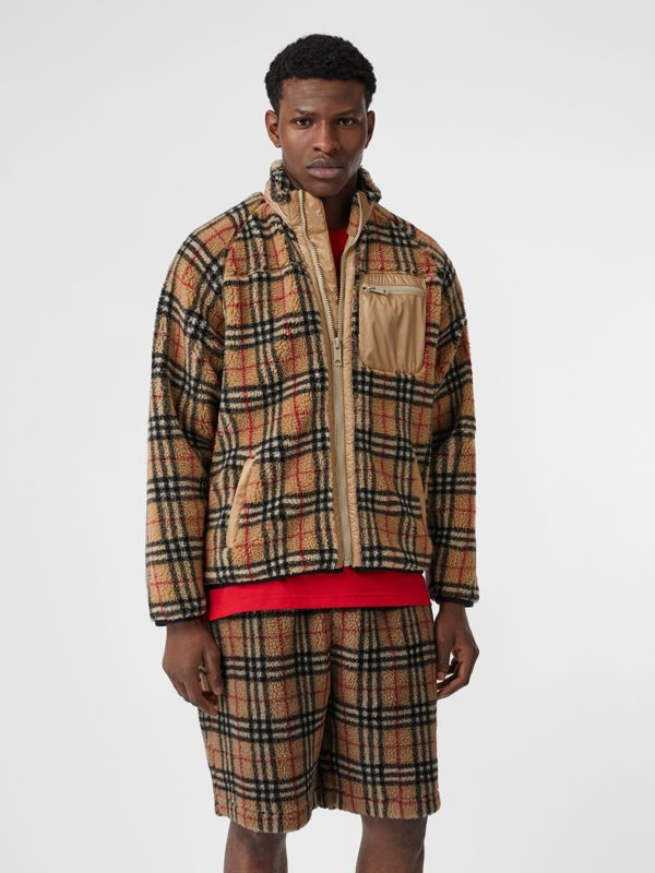 Vintage Check Faux Shearling Jacket in Archive Beige - Men | Burberry United Kingdom - cell image 3