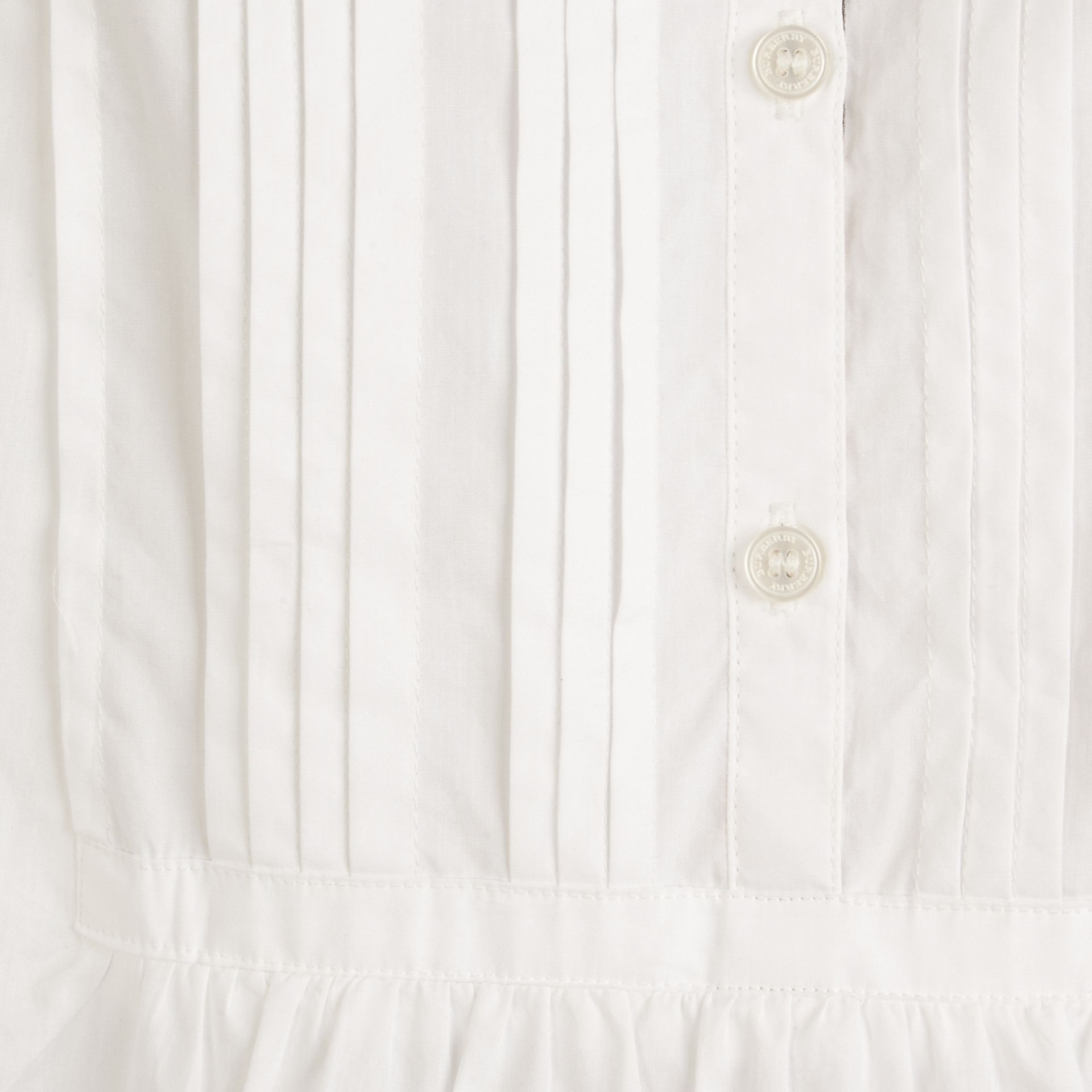 Pintuck Detail Cotton Dress in White - Girl | Burberry - gallery image 2