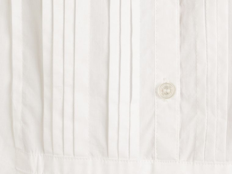 Pintuck Detail Cotton Dress in White - Girl | Burberry - cell image 1