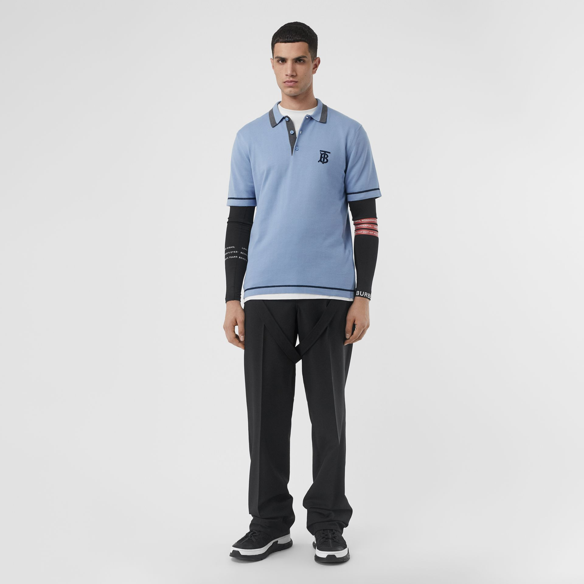 Monogram Motif Tipped Cotton Polo Shirt in Baby Blue - Men | Burberry Australia - gallery image 0
