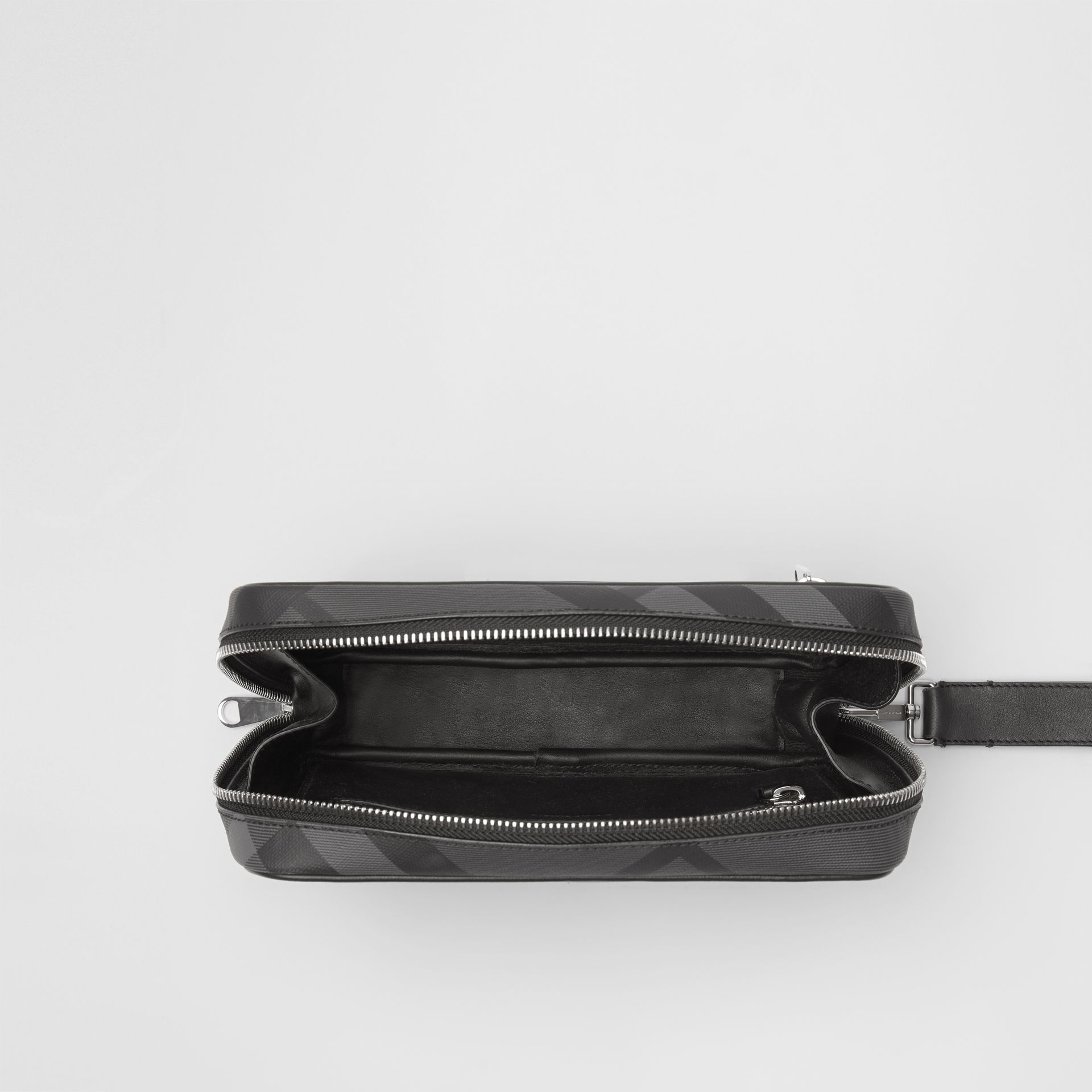 London Check Travel Pouch in Charcoal/black - Men | Burberry Hong Kong - gallery image 5