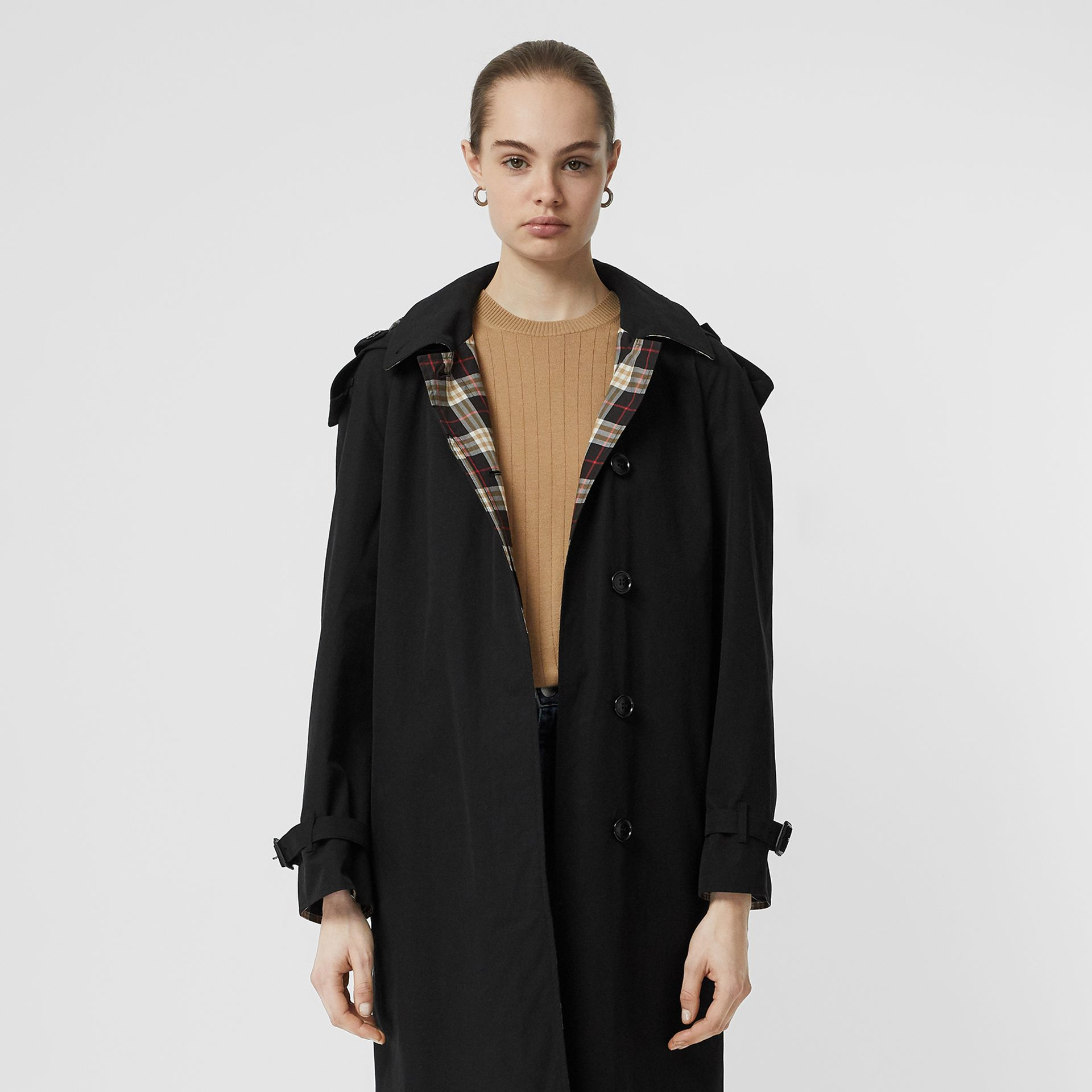Detachable Hood Tropical Gabardine Car Coat in Black - Women | Burberry Canada - gallery image 7