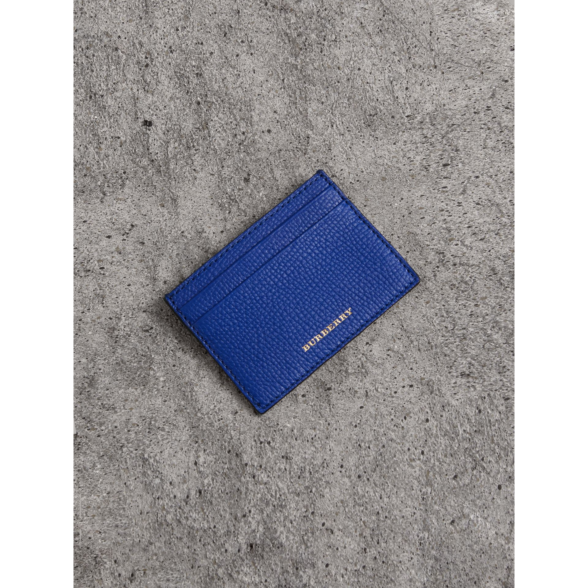 House Check and Grainy Leather Card Case in Deep Blue | Burberry - gallery image 1
