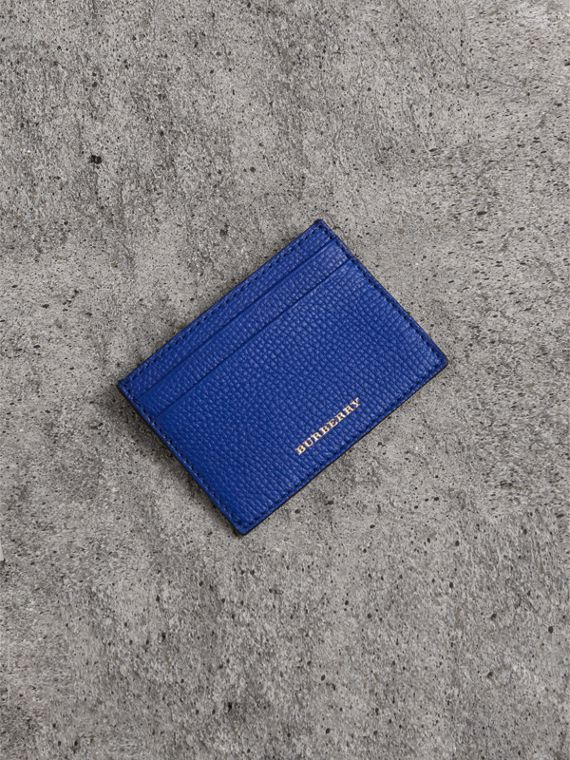 House Check and Grainy Leather Card Case in Deep Blue