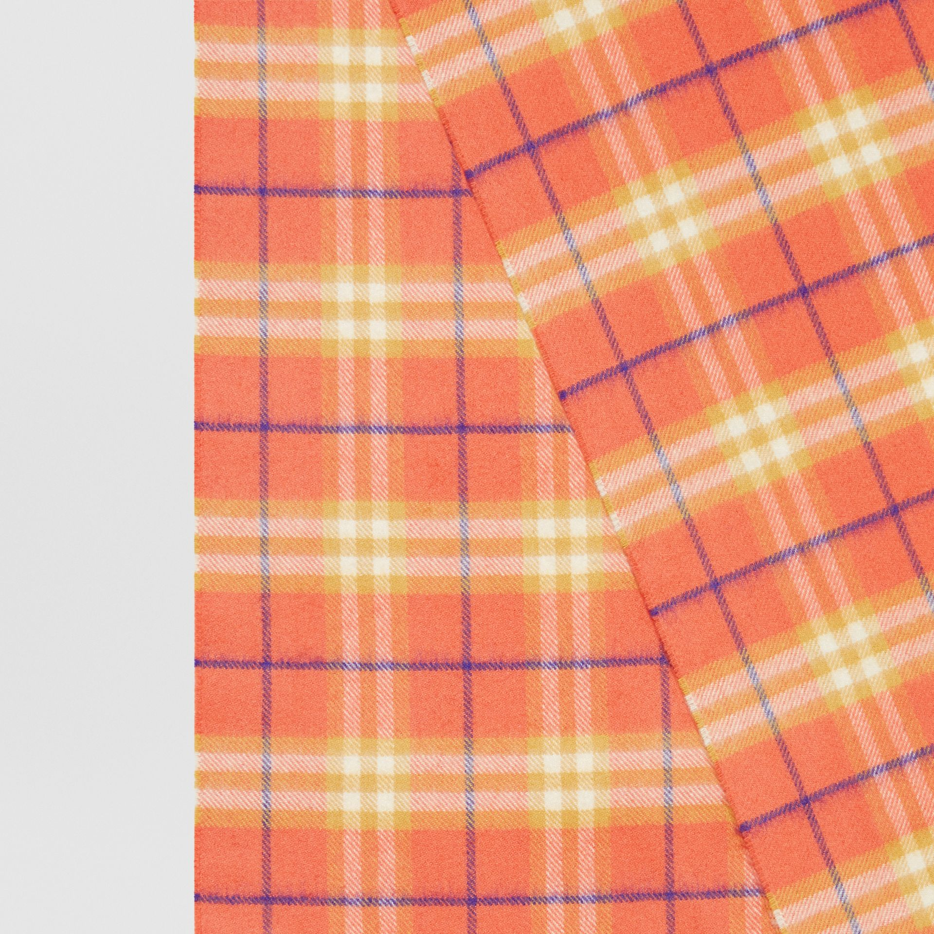 The Classic Vintage Check Cashmere Scarf in Coral | Burberry Singapore - gallery image 1