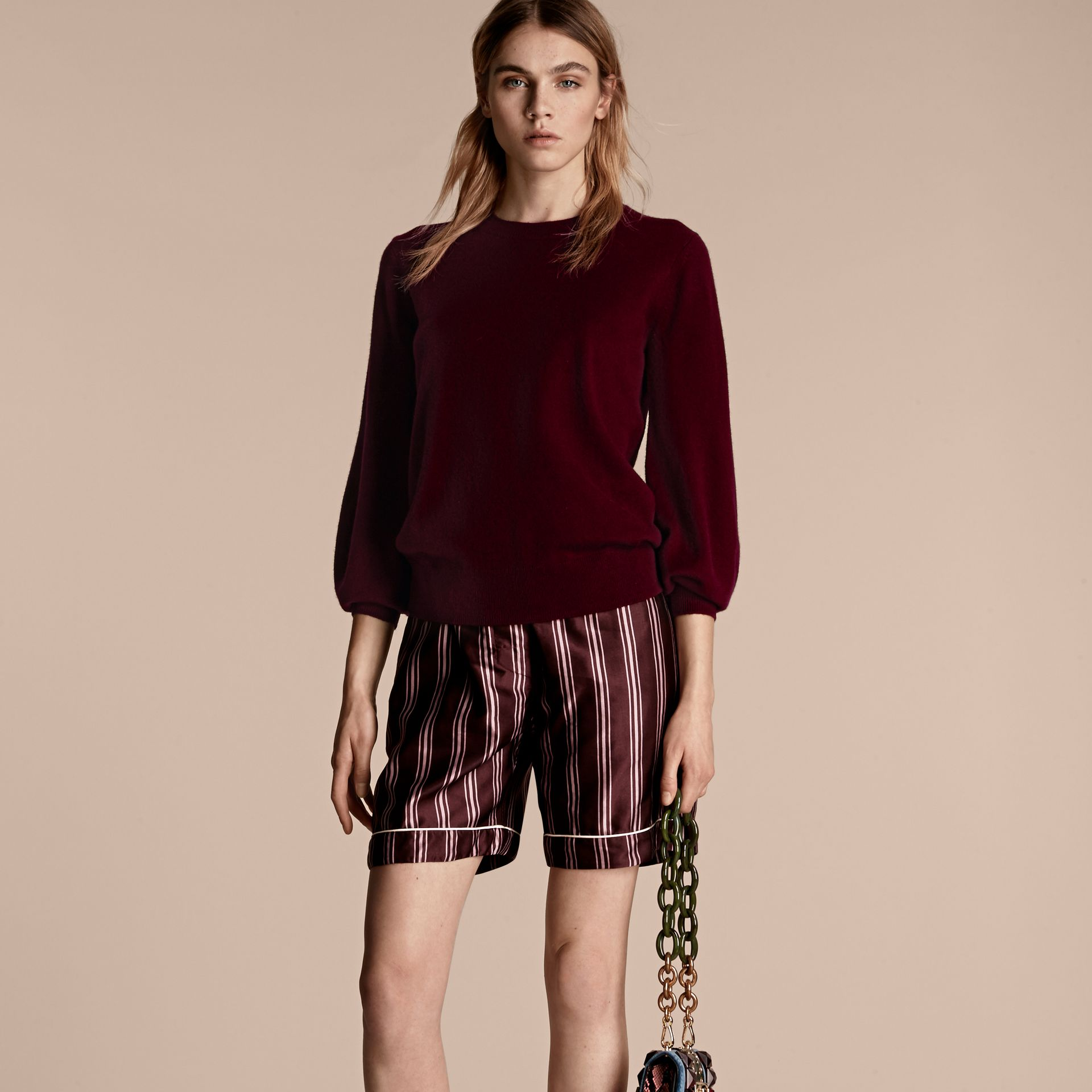 Burgundy Puff-sleeved Cashmere Sweater Burgundy - gallery image 6