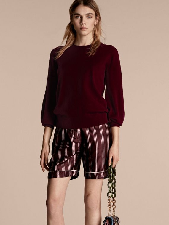 Puff-sleeved Cashmere Sweater Burgundy