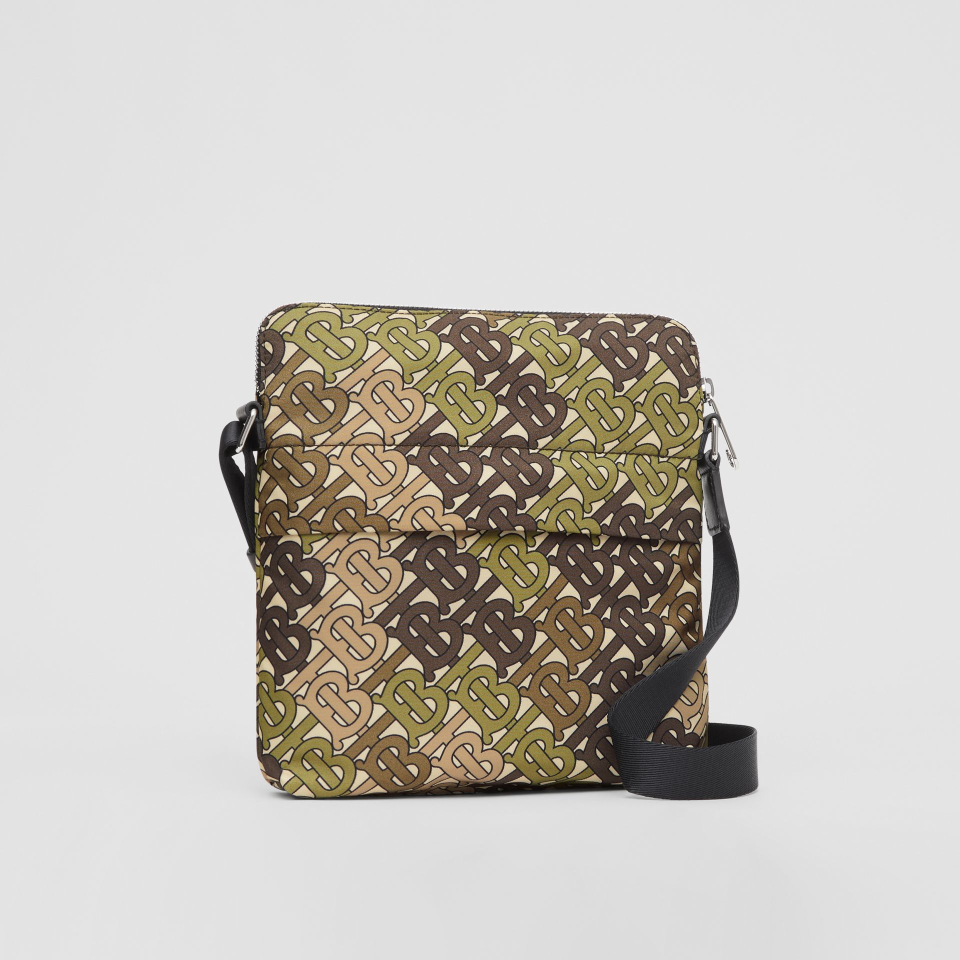 Monogram Print Nylon Crossbody Bag in Khaki Green - Men | Burberry Australia - gallery image 6