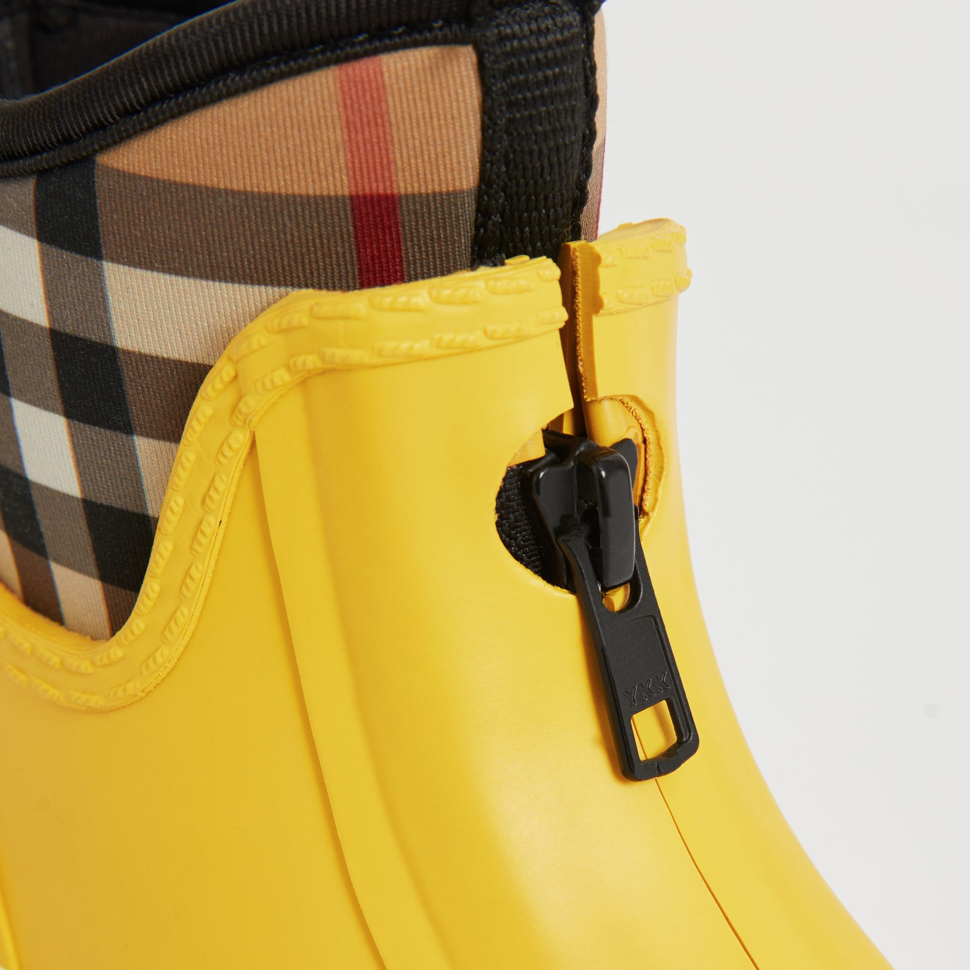 Vintage Check Neoprene and Rubber Rain Boots in Vibrant Lemon | Burberry Australia - gallery image 1