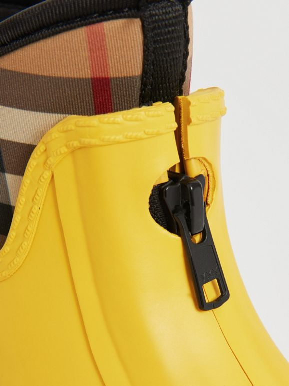 Vintage Check Neoprene and Rubber Rain Boots in Vibrant Lemon | Burberry Australia - cell image 1