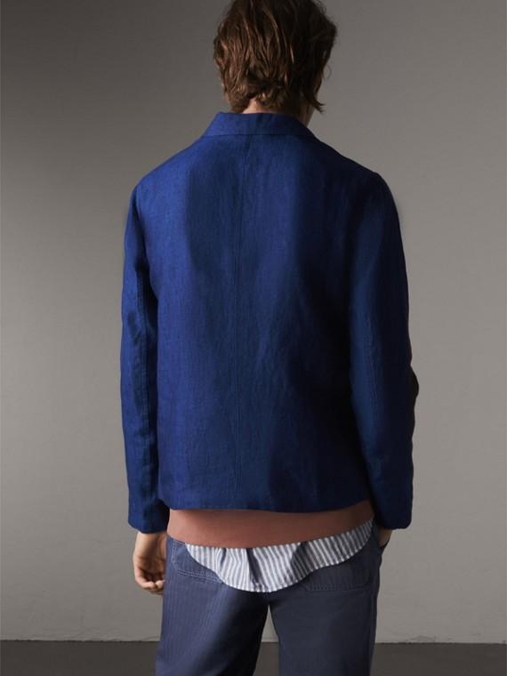 Linen Workwear Jacket in Steel Blue - Men | Burberry - cell image 2