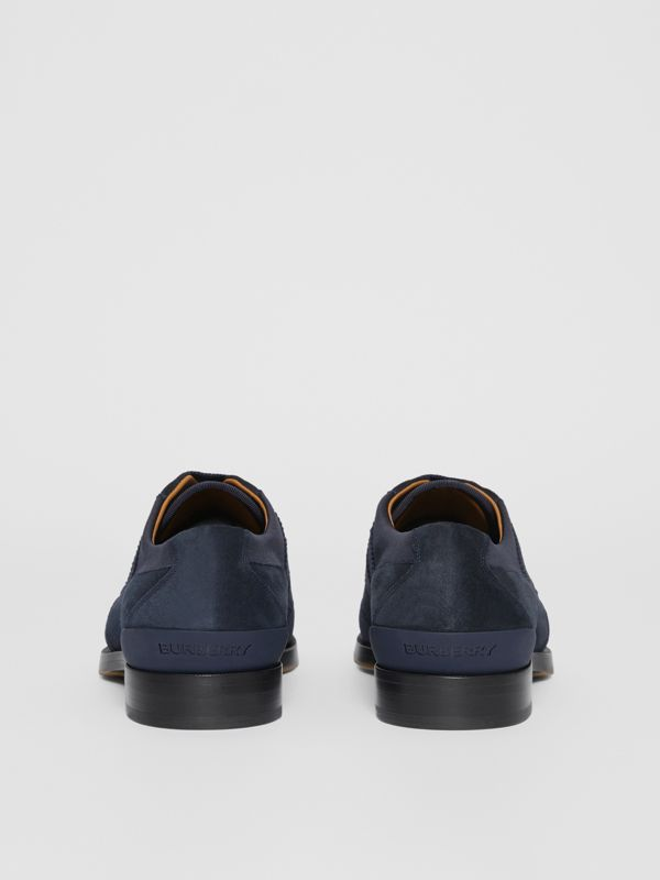 Neoprene Panel Suede Lace-up Shoes in Navy - Men | Burberry - cell image 3