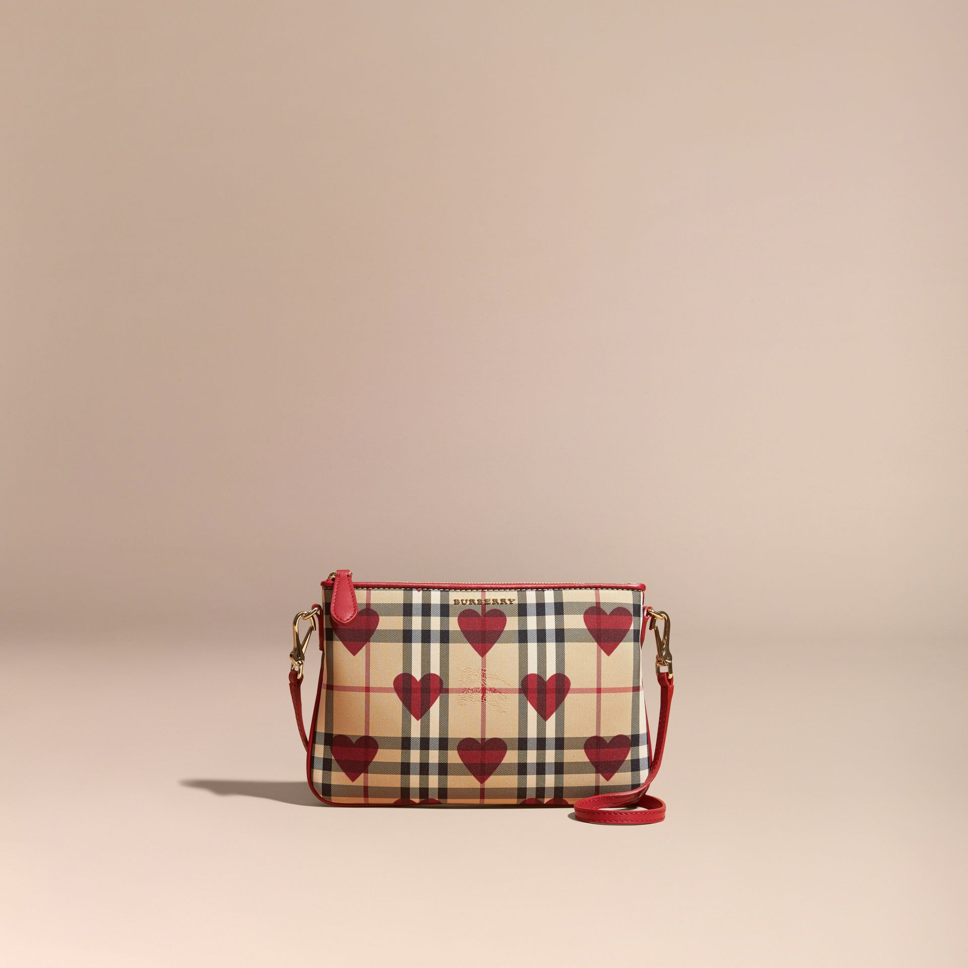 Parade red Heart Print Check and Leather Clutch Bag Parade Red - gallery image 9