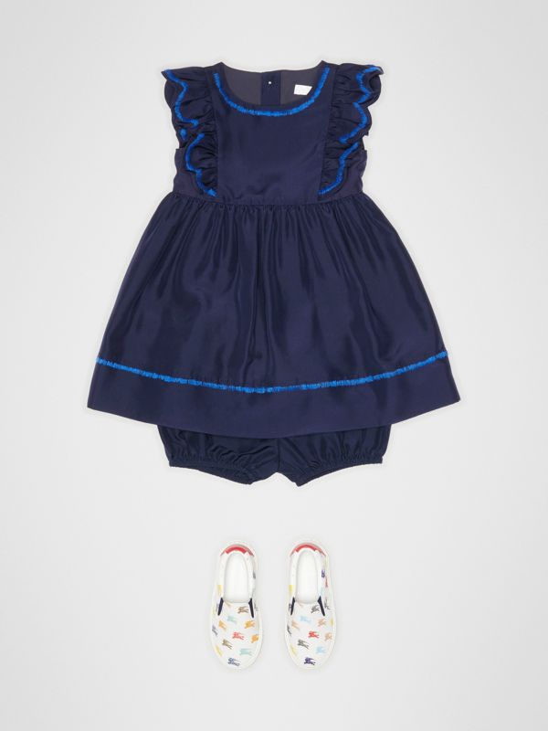 Ruffle Detail Embroidered Silk Dress with Bloomers in Navy - Children | Burberry - cell image 2