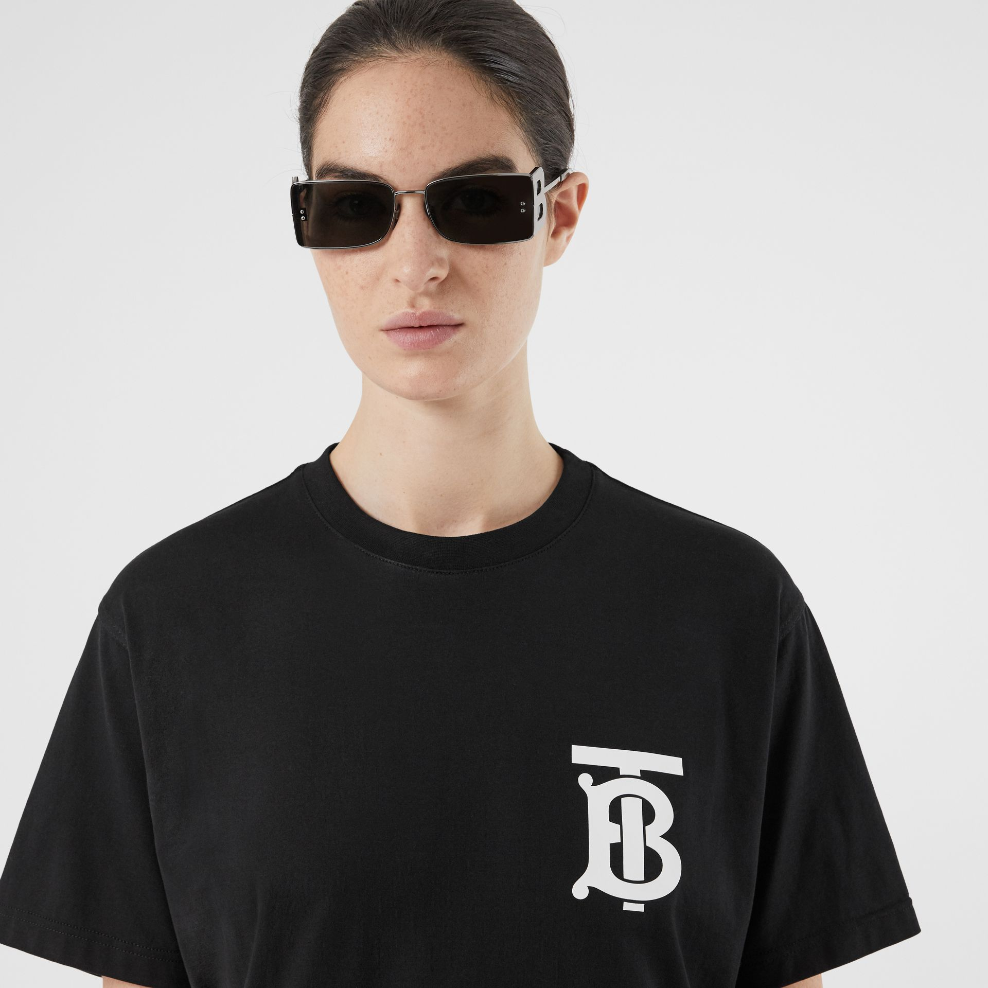 Monogram Motif Cotton Oversized T-shirt in Black - Women | Burberry - gallery image 1