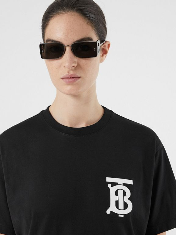 Monogram Motif Cotton Oversized T-shirt in Black - Women | Burberry - cell image 1