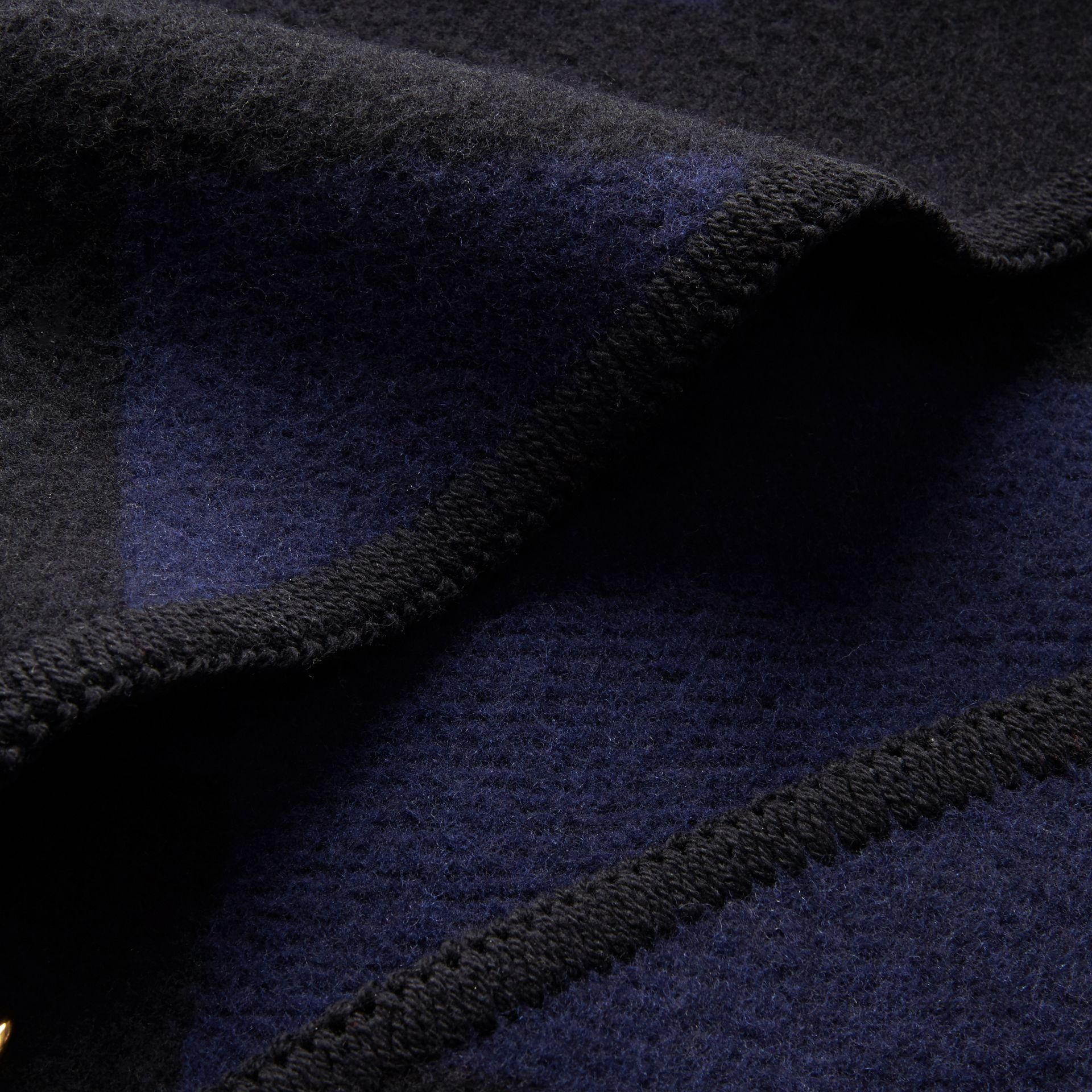 Check Wool Cashmere Blanket Cape in Navy - Women | Burberry - gallery image 2
