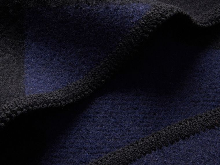 Check Wool Cashmere Blanket Cape in Navy - Women | Burberry - cell image 1