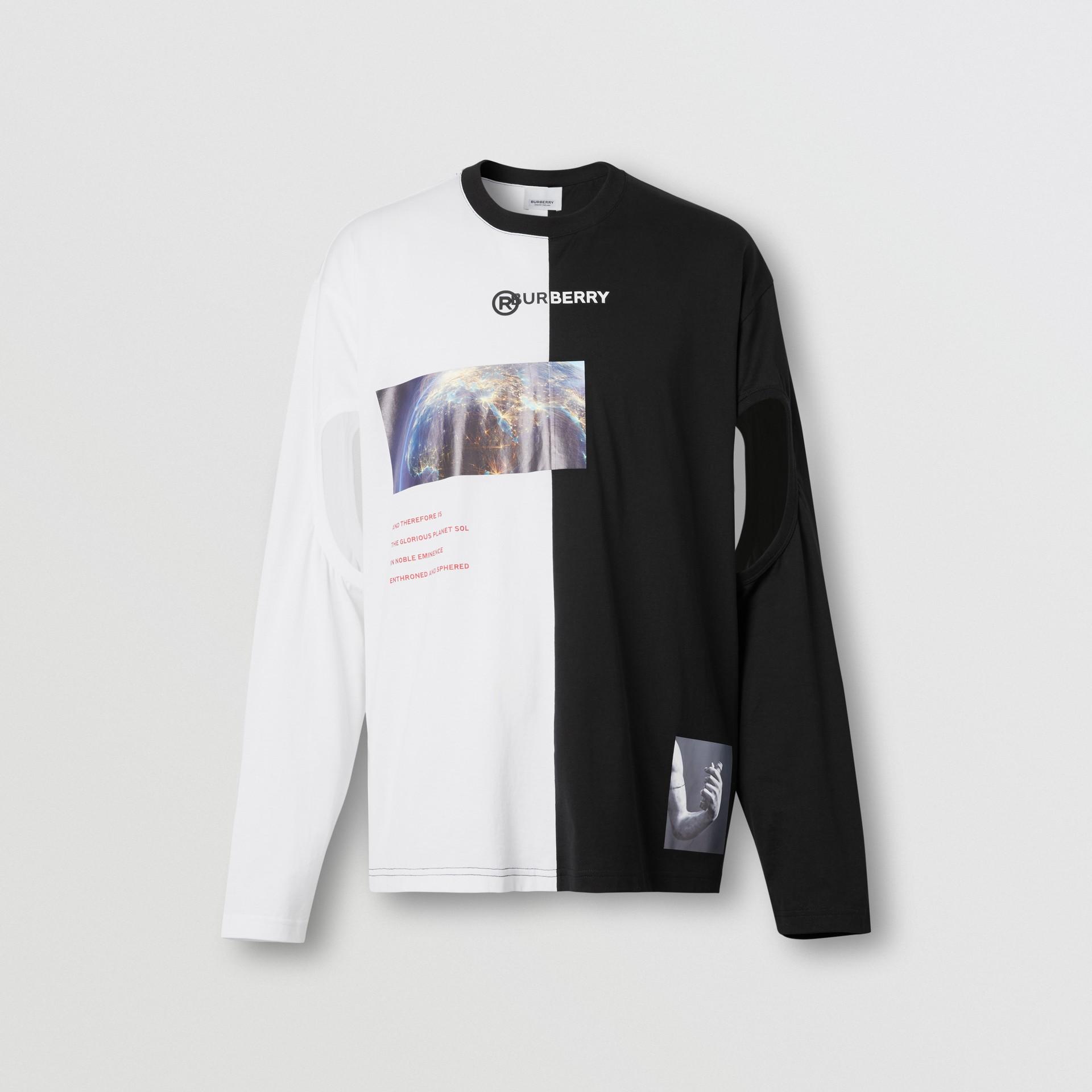 Haut oversize en coton à imprimé montage avec manches à découpes (Noir/blanc) - Homme | Burberry - photo de la galerie 3