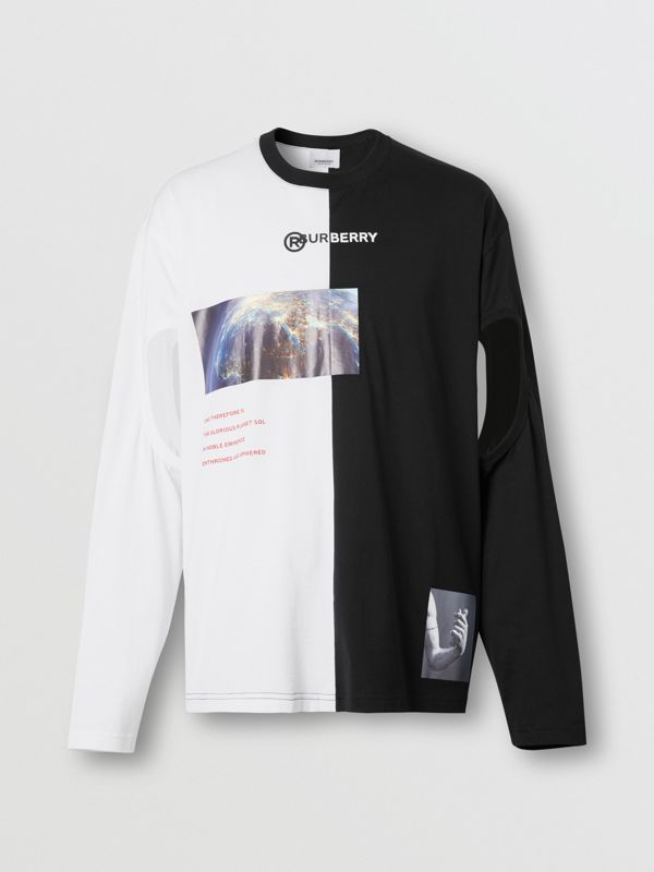 Haut oversize en coton à imprimé montage avec manches à découpes (Noir/blanc) - Homme | Burberry - cell image 3