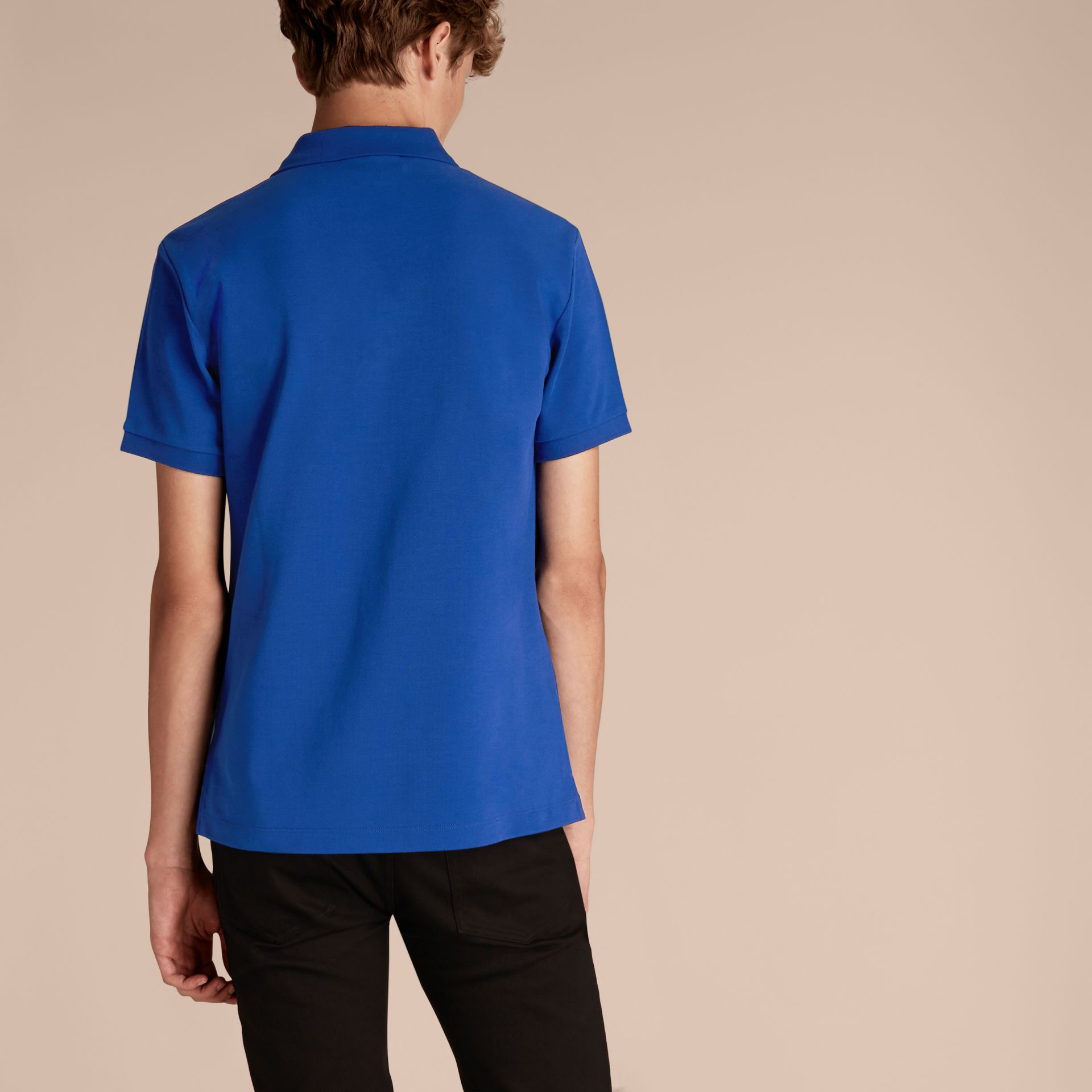 Check Placket Cotton Piqué Polo Shirt in Brilliant Blue - gallery image 3