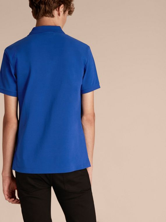 Check Placket Cotton Piqué Polo Shirt in Brilliant Blue - cell image 2