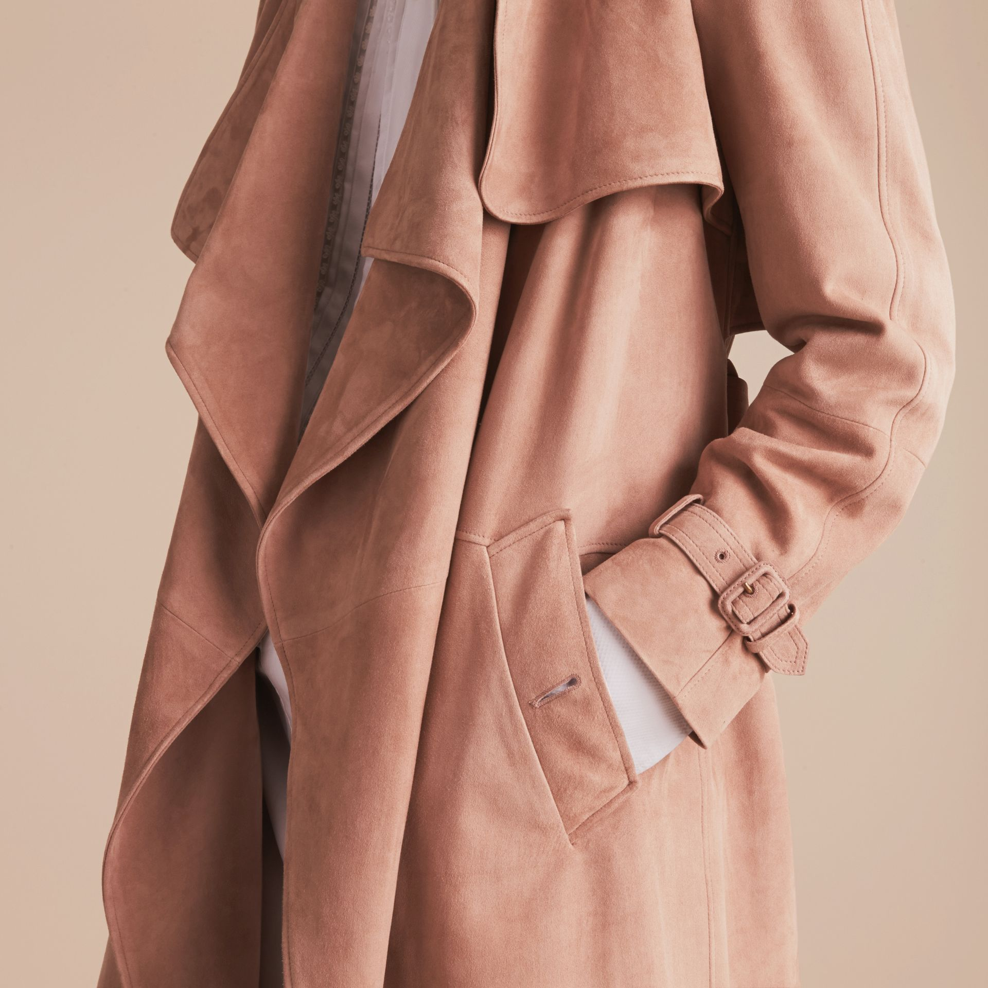 Suede Wrap Trench Coat - Women | Burberry - gallery image 7