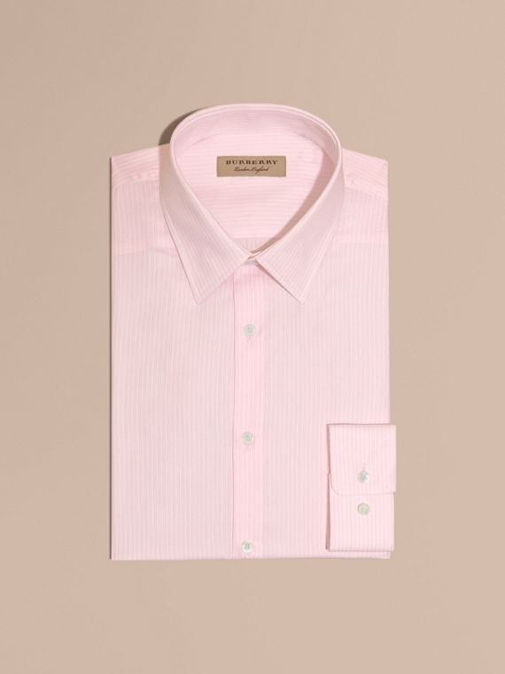 Slim Fit Striped Cotton Poplin Shirt City Pink