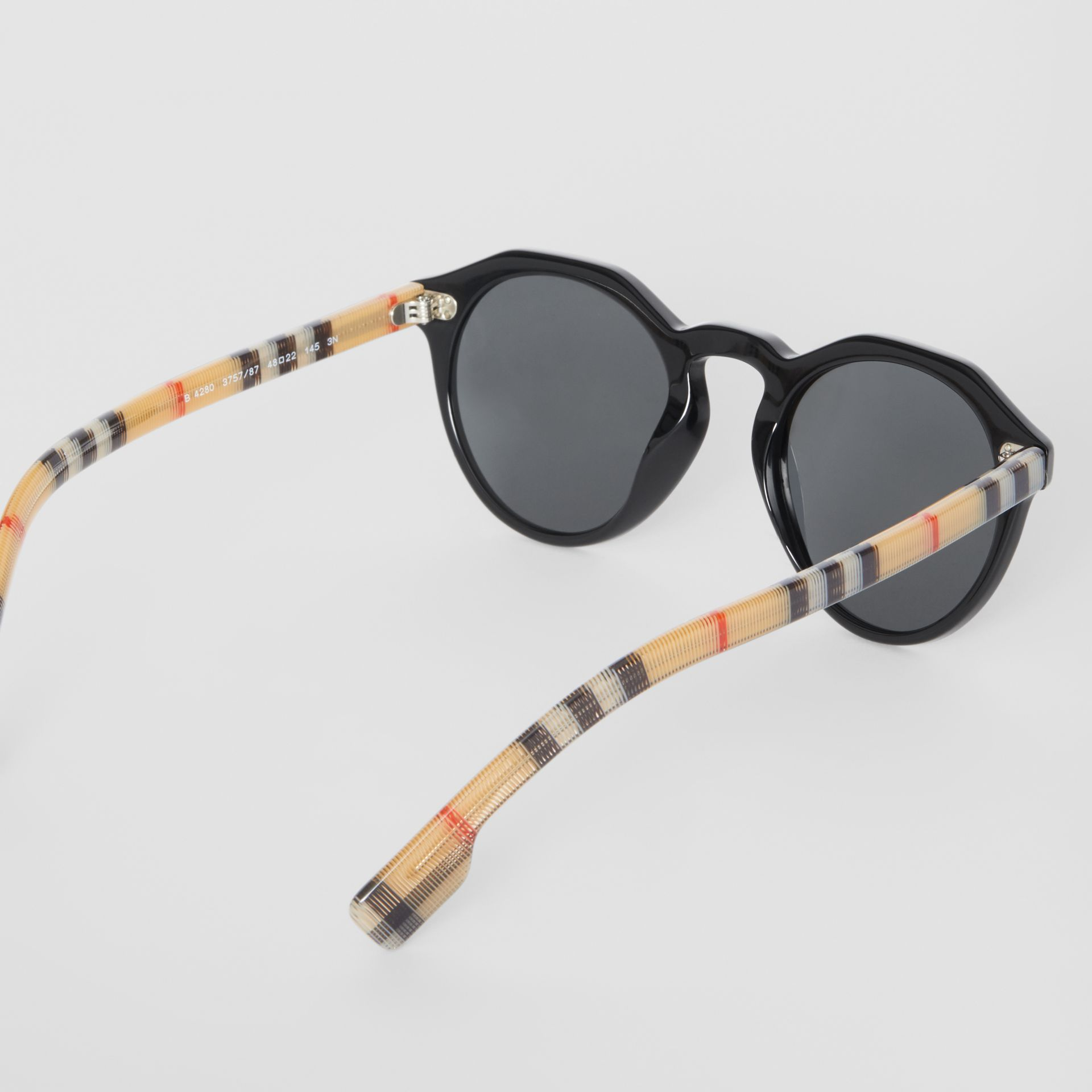 Vintage Check Detail Round Frame Sunglasses in Black/beige - Men | Burberry Canada - gallery image 3