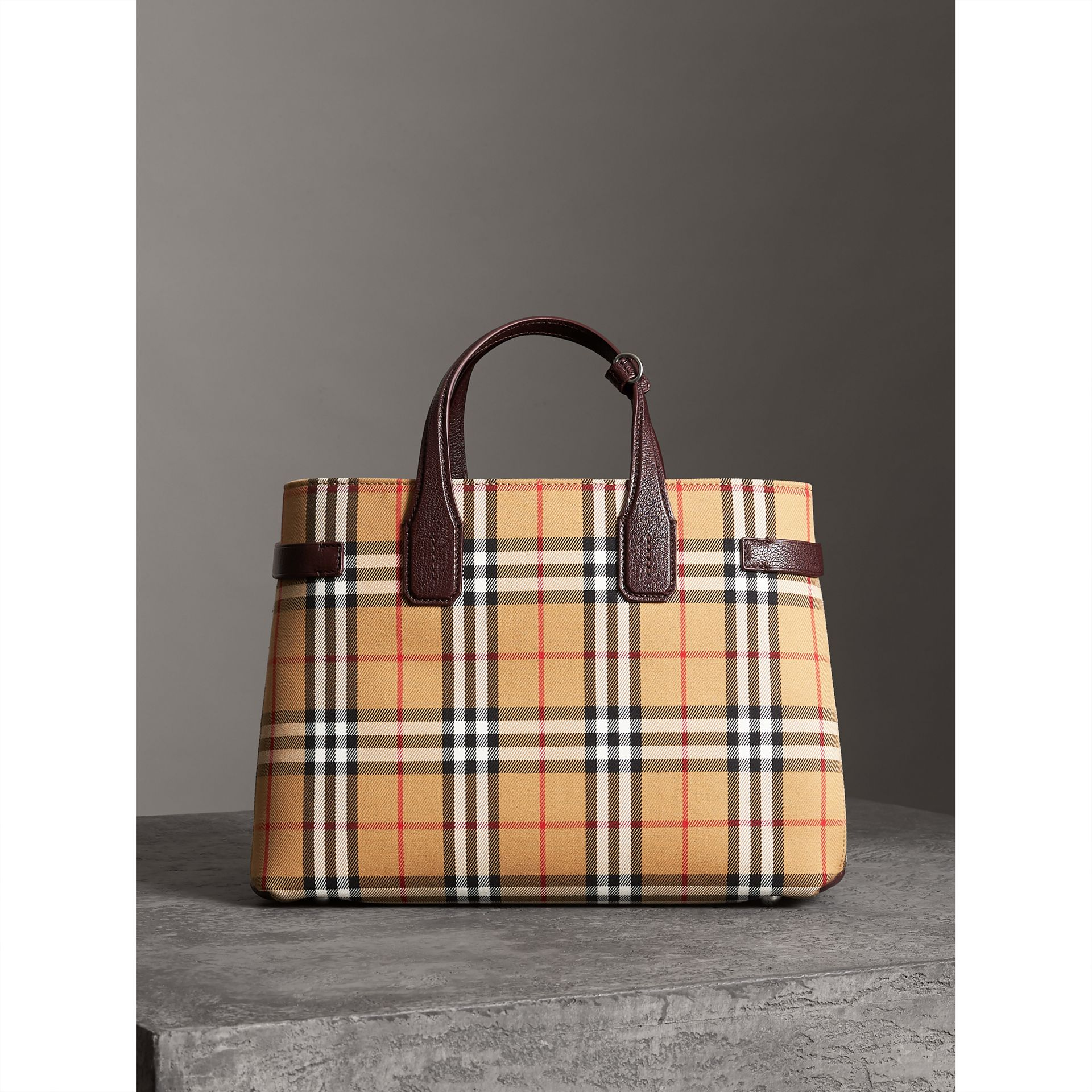 The Medium Banner in Vintage Check and Leather in Deep Claret - Women | Burberry United Kingdom - gallery image 6