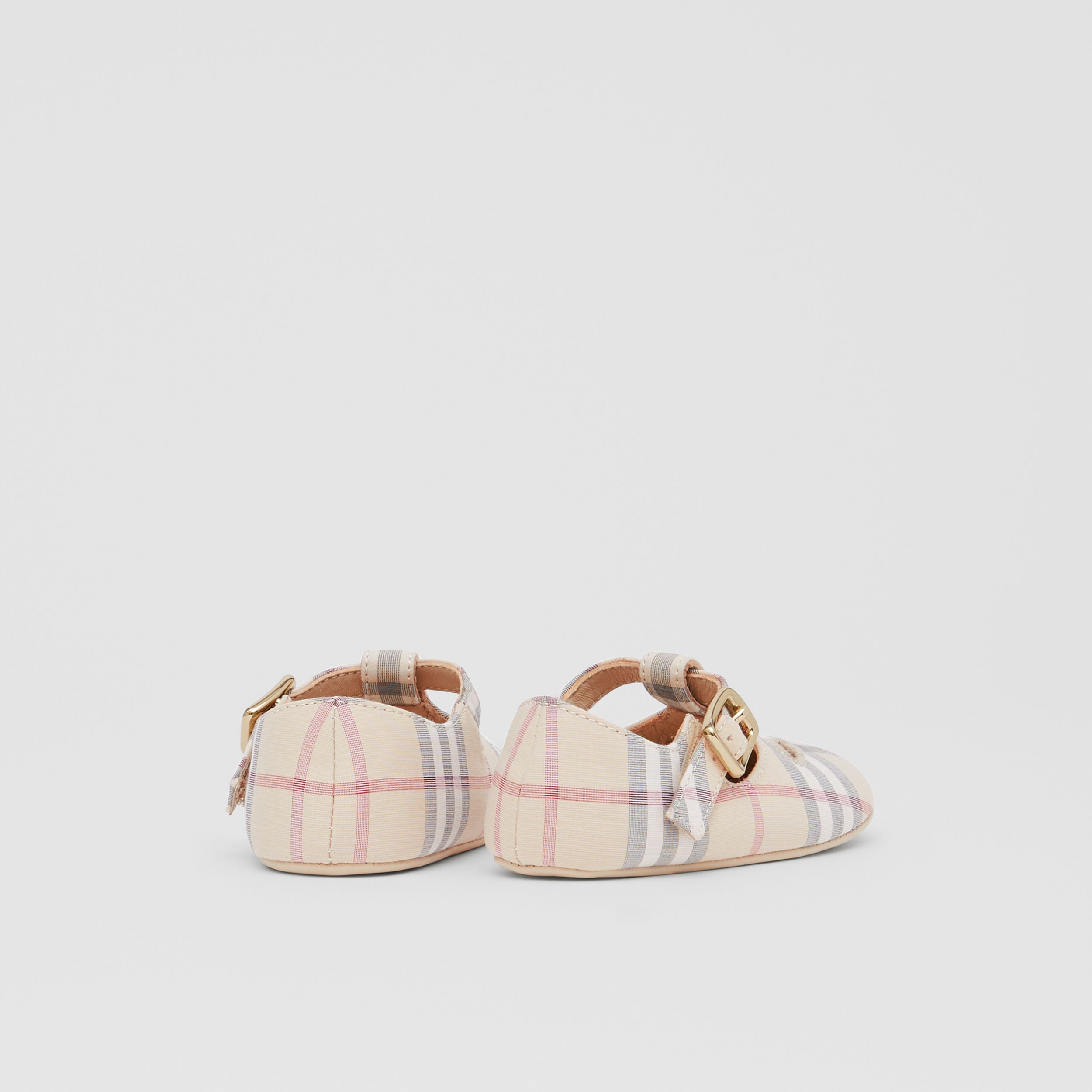 Check Cotton and Leather T-bar Shoes in Pale Stone - Children | Burberry - 3
