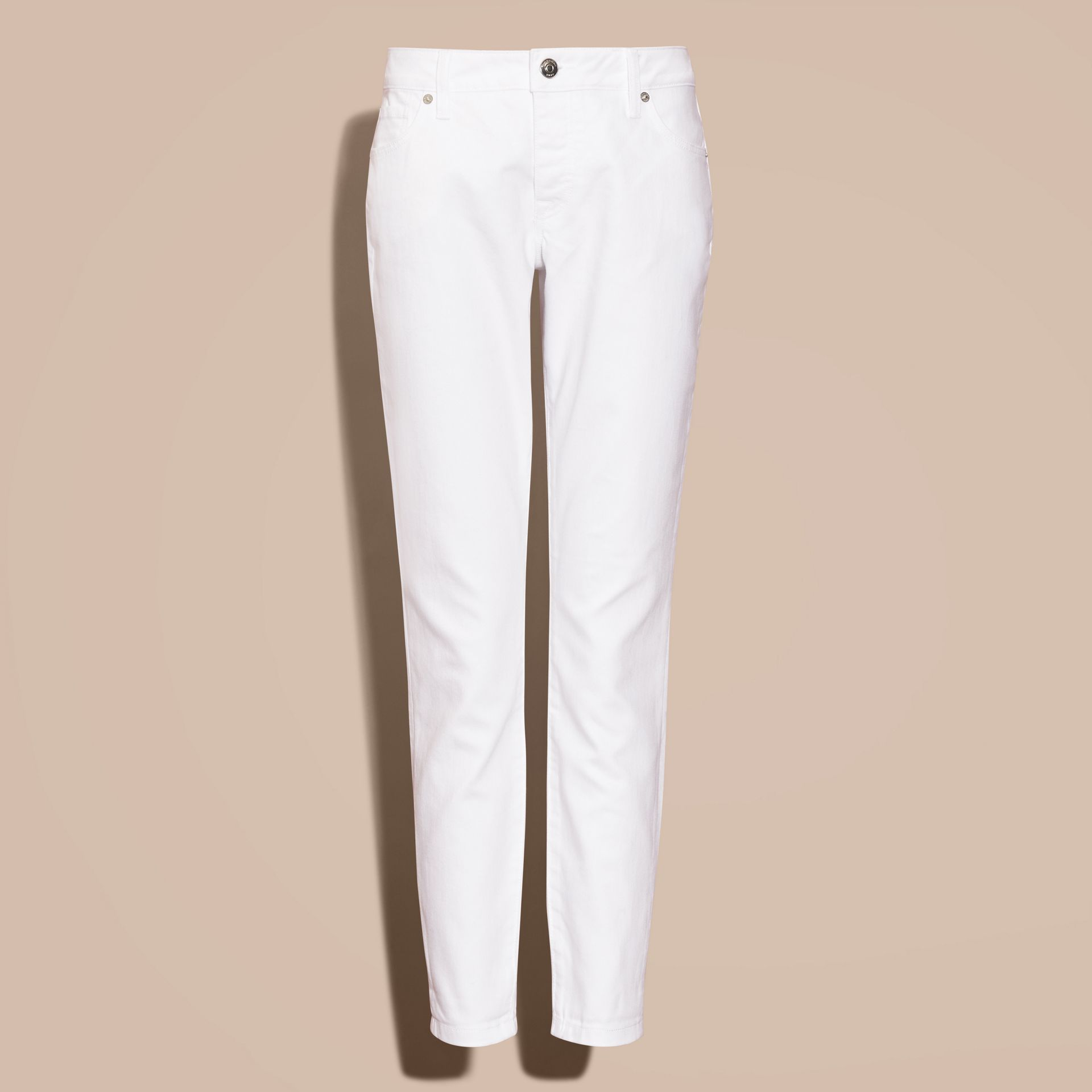 White Relaxed Fit Japanese Comfort Stretch Jeans - gallery image 4