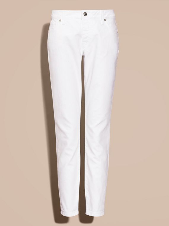 White Relaxed Fit Japanese Comfort Stretch Jeans - cell image 3
