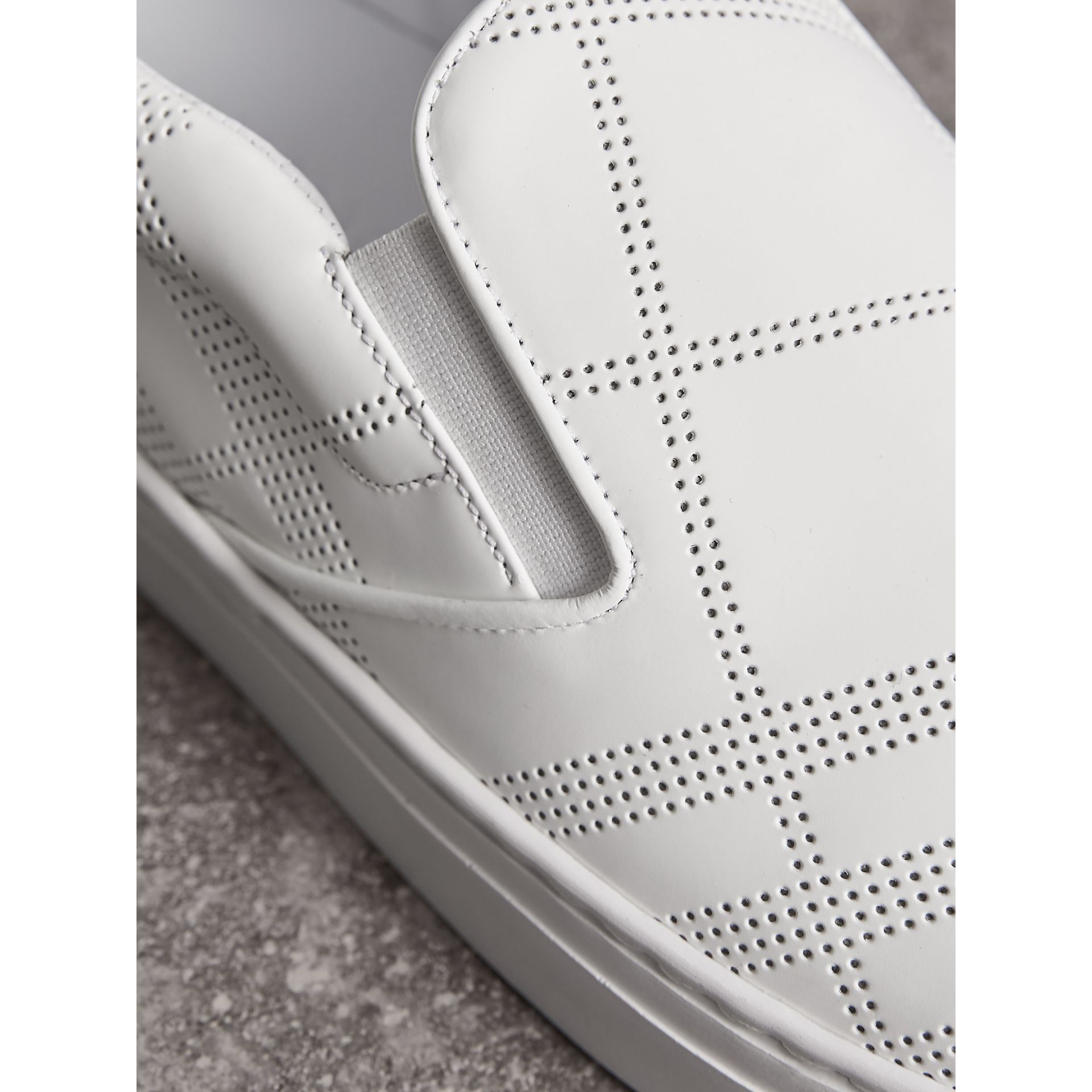 Perforated Check Leather Slip-on Trainers in Optic White/deep Claret Melange - Men | Burberry United States - gallery image 2