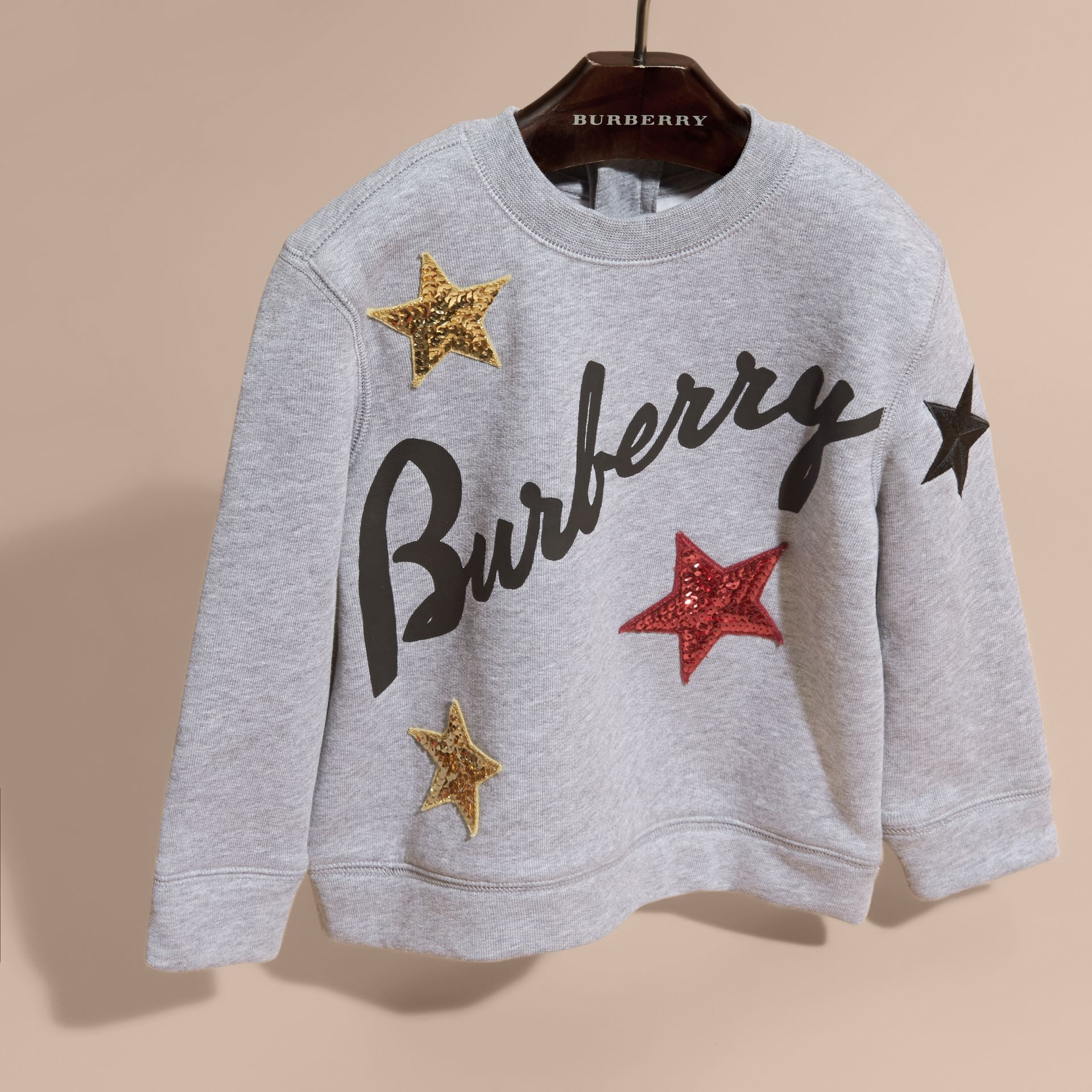 Graphic Print and Sequin Embellished Cotton Jersey Sweatshirt - gallery image 3
