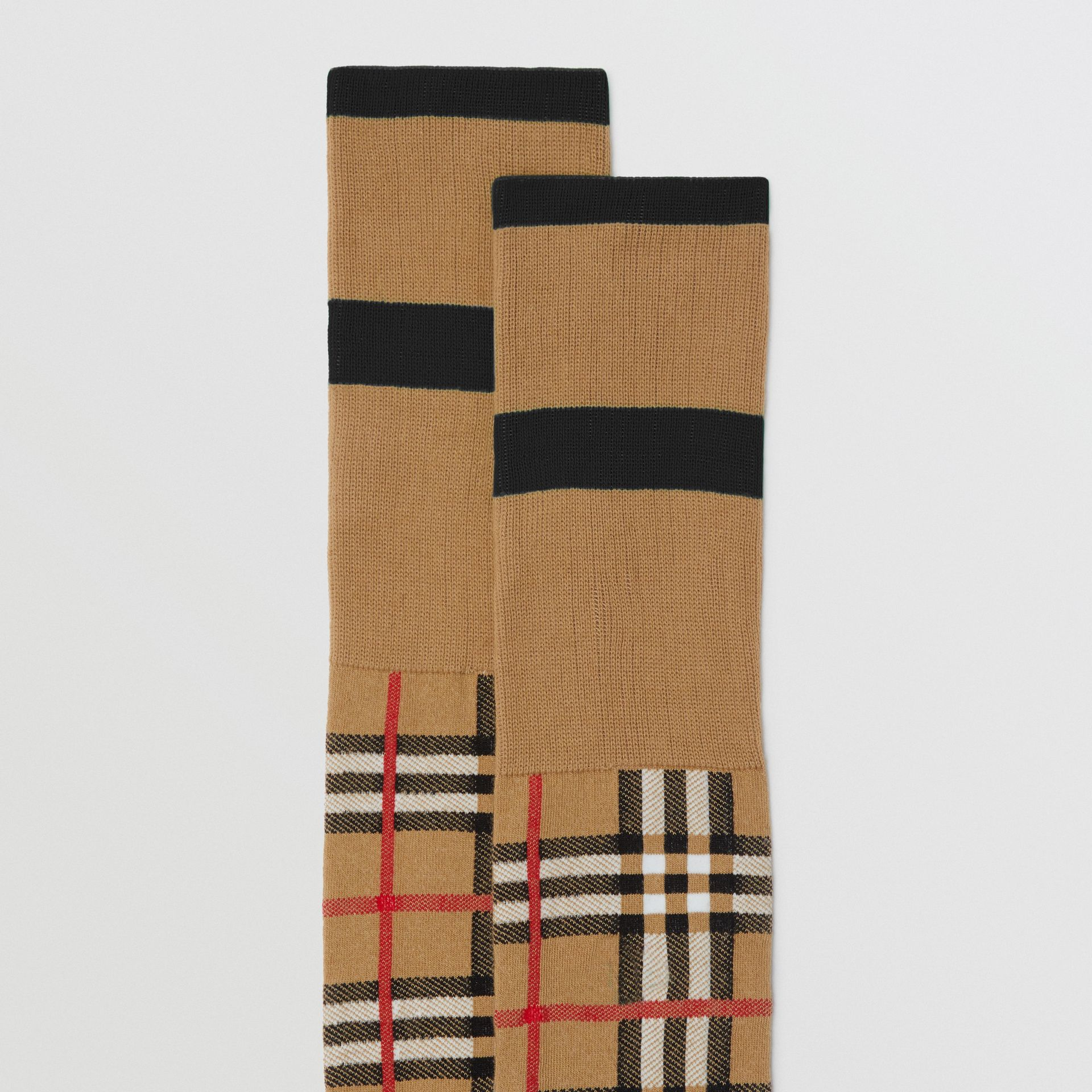 Vintage Check Jacquard Socks in Antique Yellow | Burberry United Kingdom - gallery image 1