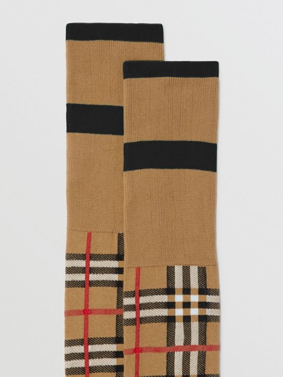 Vintage Check Jacquard Socks in Antique Yellow | Burberry United Kingdom - cell image 1