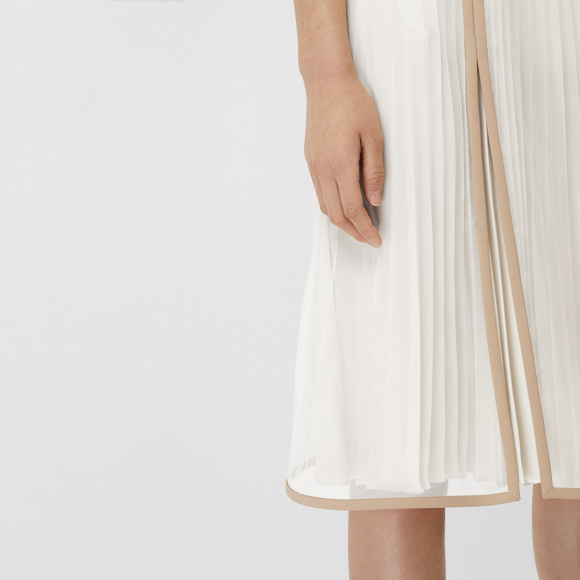 Chiffon Panel Silk Pleated Skirt in Magnolia - Women | Burberry - gallery image 1